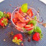 Erdbeer-Basilikum-Parfait