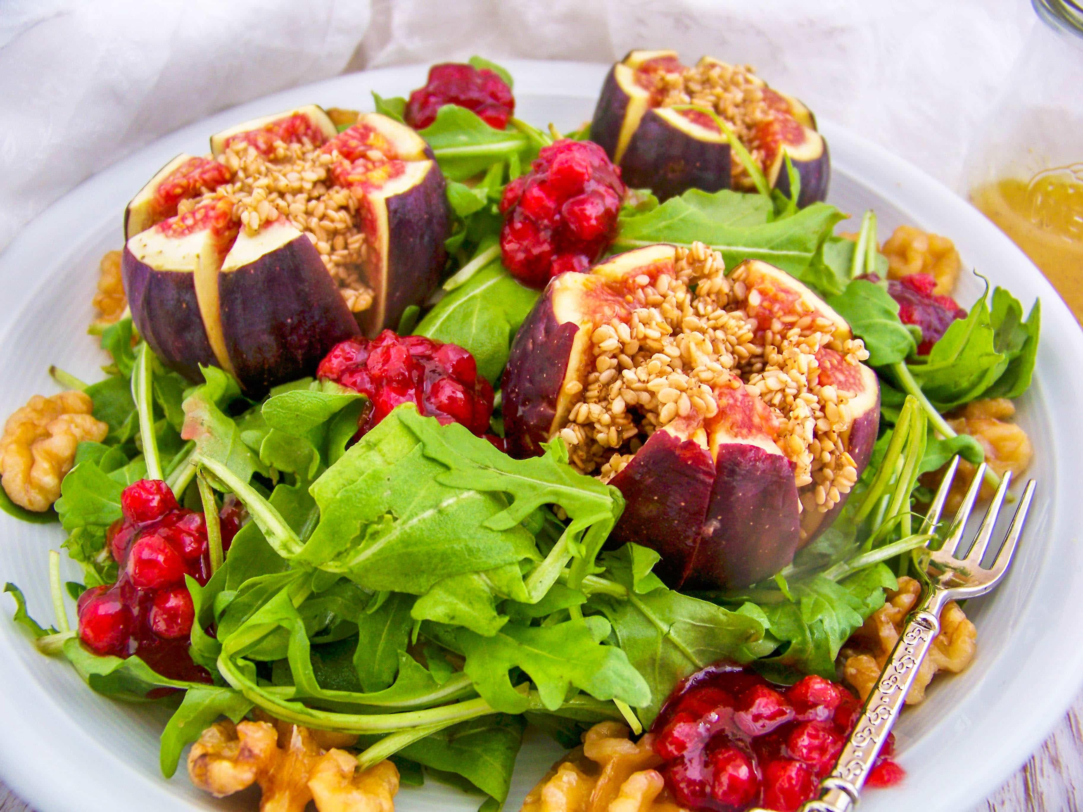 Rucolasalat-mit-Feigen-und-Preiselbeeren Herbstsalat