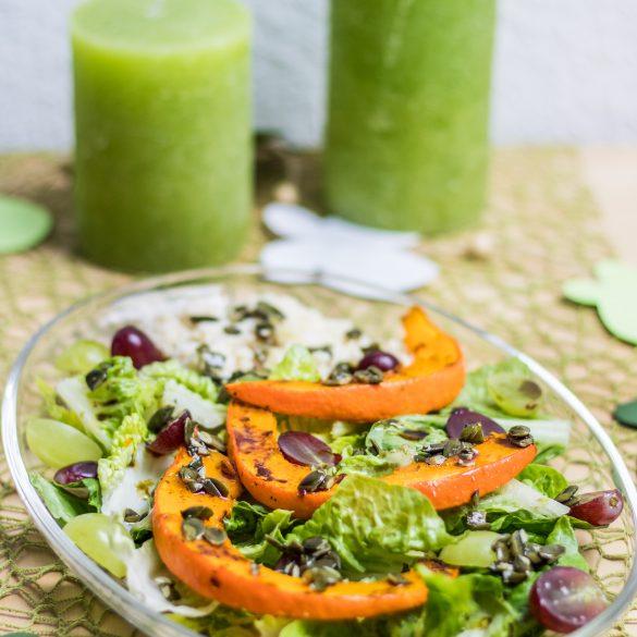 Bunter Salat mit Trauben, Hirse und Kürbis