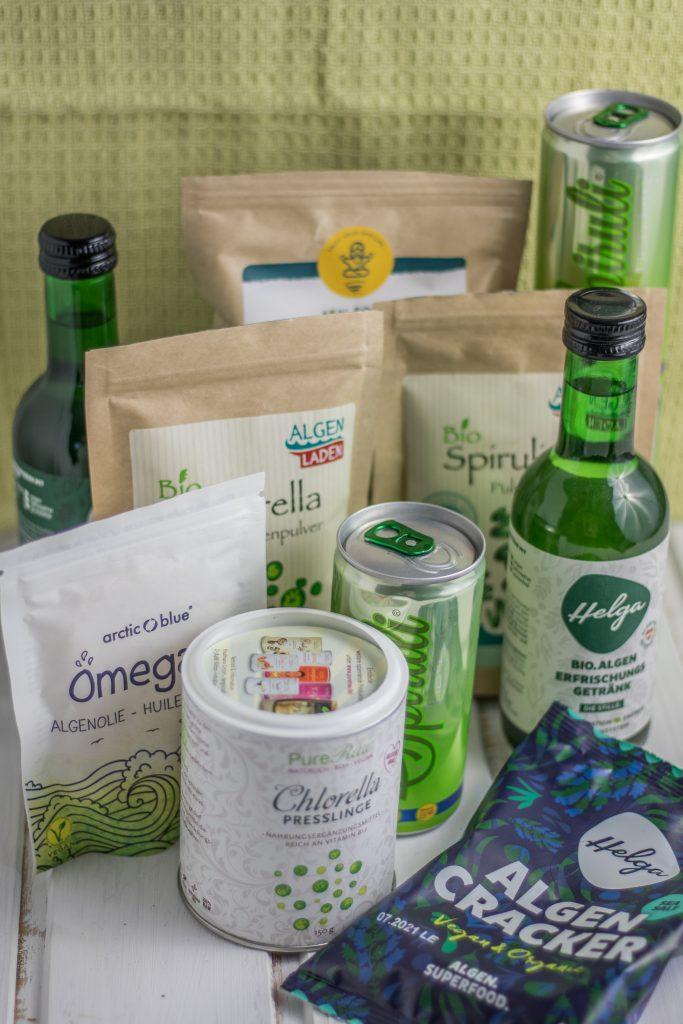 Vielfältige Produkte mit Algen, Spirulina und Chlorella aus dem Algenladen