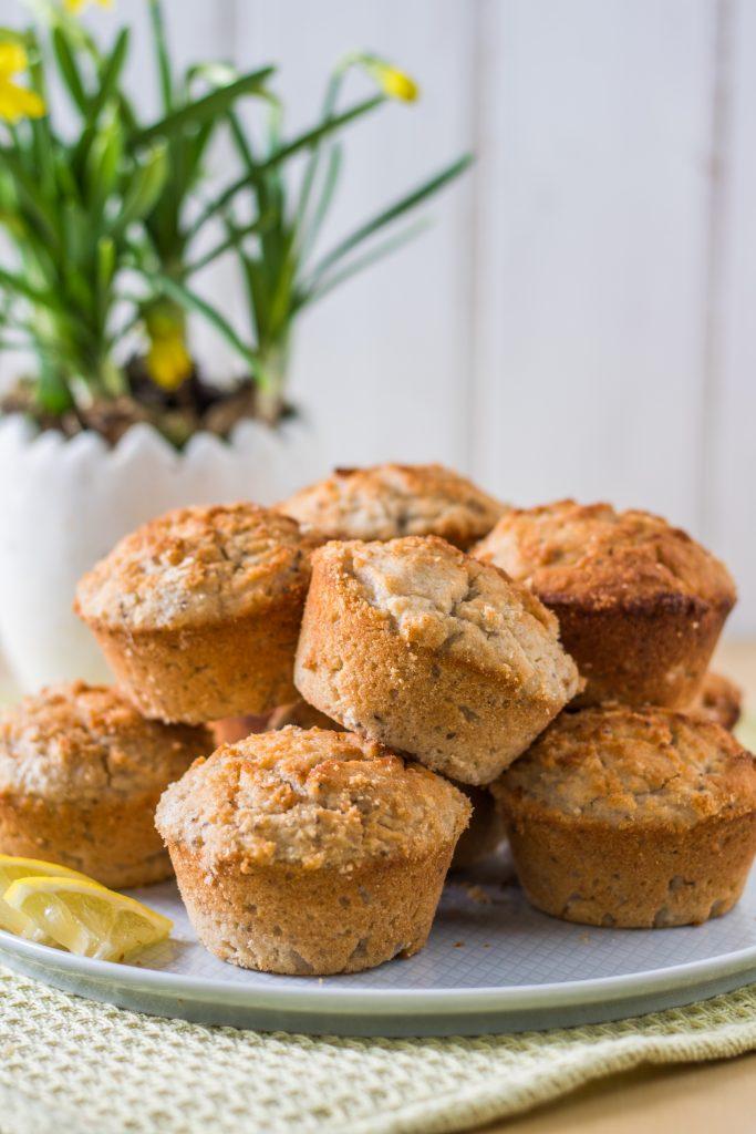 Glutenfreie und vegane Zitronen-Kokos-Muffins