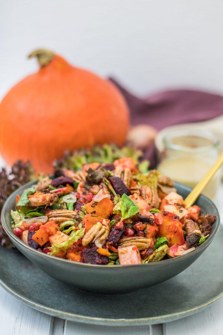 herbstlicher ofengemuese salat mit kuerbis 4
